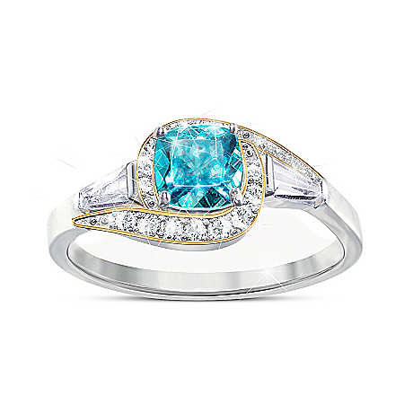 Caribbean Queen 2-Carat Apatite And White Topaz Ring