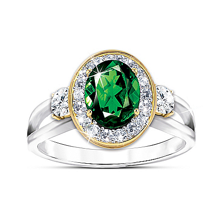 Earthly Beauty Women's Chrome Diopside And Topaz Ring