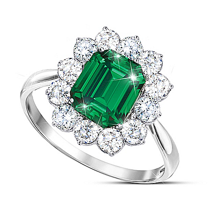 Royal Cambridge Women's Simulated Emerald Diamonesk Ring