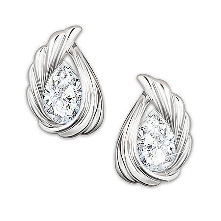Heaven's Whisper Solid Sterling Silver And Topaz Earrings