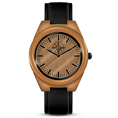 Always My Son Wooden Men's Watch With Compass Dial Design