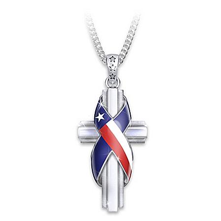 God Bless Texas Cross Diamond Pendant Necklace