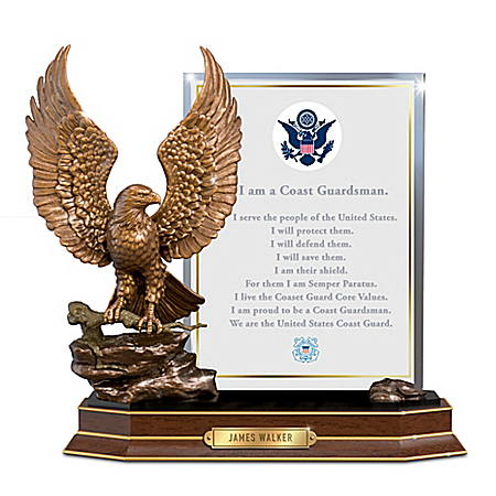 Coast Guard Honor Eagle Sculpture With Personalized Plaque