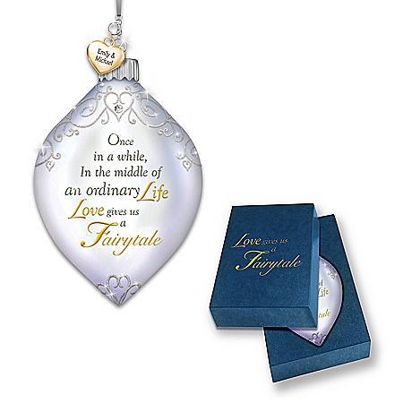 Dazzling Holiday Romance Personalized Illuminated Ornament