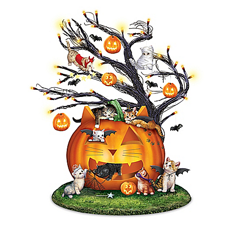 Purr-fectly Mischievous Halloween Illuminated Tabletop Tree