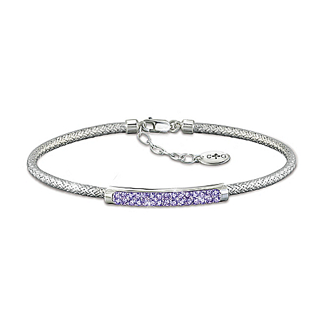 Classic Beauty Personalized Daughter Birthstone Bracelet With Signature Charles Garnier Weave Design – Personalized Jewelry