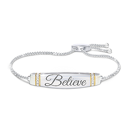 Believe In Yourself Crystal Bolo Bracelet With 2 Engravings