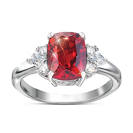Rare Wonder Women's Red Helenite Ring With White Topaz Gemstones