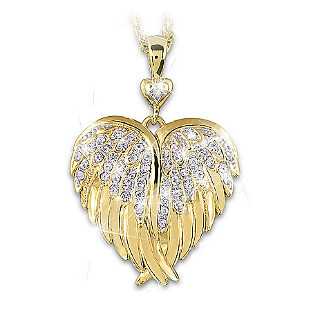Guardian Angel Crystal And Diamond 24K Gold-Plated Locket