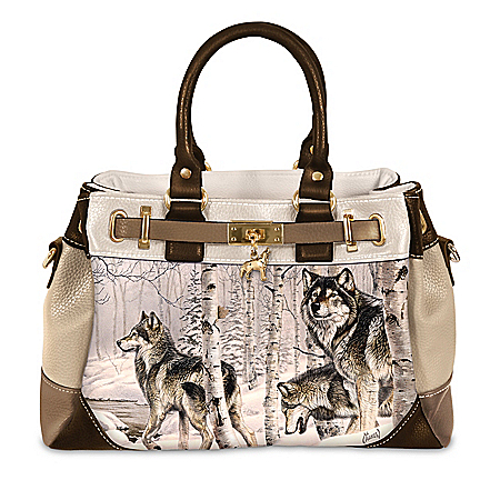 Al Agnew Spirit Of The Forest Women's Fashion Handbag With Wolf Charm