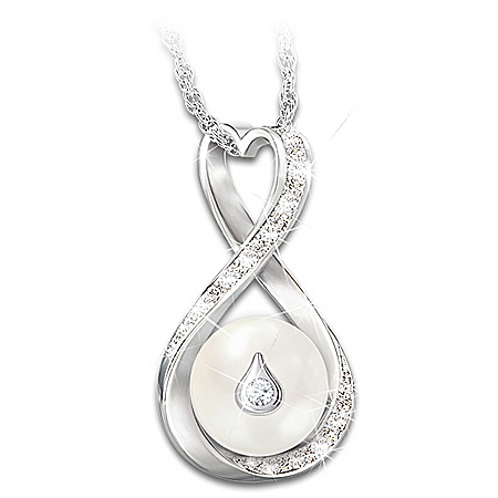 Forever Loved Cultured Pearl And Diamond Pendant Necklace