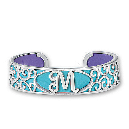 Personally Yours Women's Personalized Initial Cuff Bracelet With Deluxe Pouch Featuring 2 Reversible Leather Straps That Provide