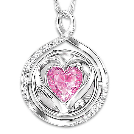 Never Ending Love Granddaughter Heart-Shaped Sterling Silver Personalized Birthstone Flip Pendant Necklace – Personalized Jewelr