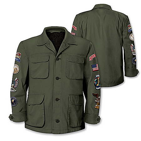 American Pride Men's Field Jacket With 8 Patriotic Patches