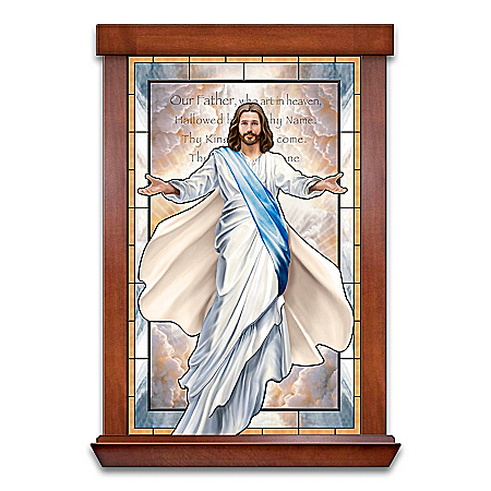 Glowing Grace Religious Self-Illuminating Stained-Glass Wall Decor