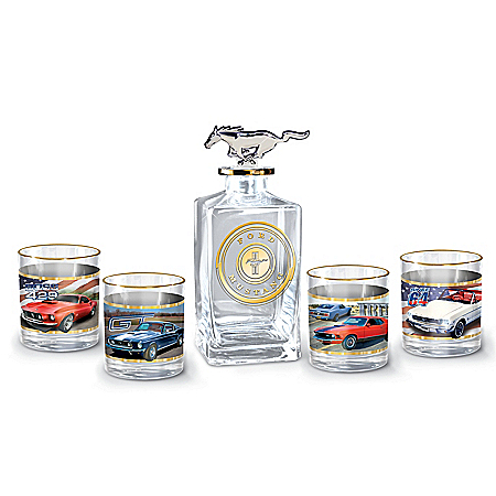 Ford Mustang Five-Piece Decanter And Glasses Set
