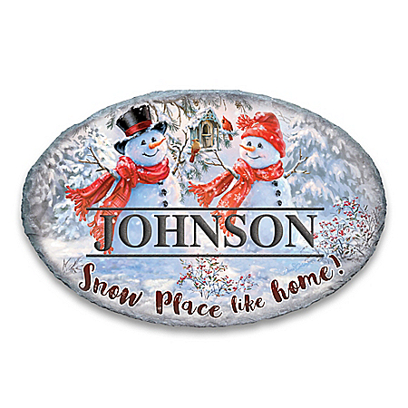 Snowman Personalized Holiday Outdoor Welcome Sign