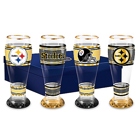 Pittsburgh Steelers NFL 4-Piece Pilsner Glass Set With 12K Gold Rims