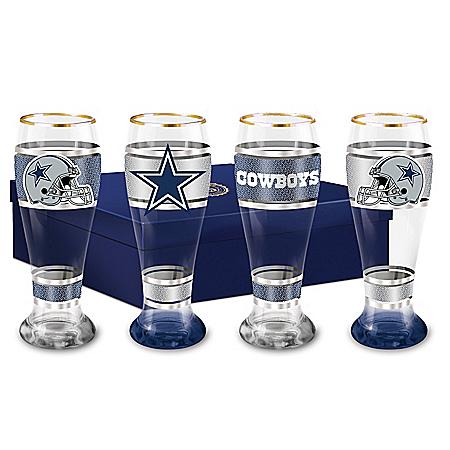 Dallas Cowboys NFL 4-Piece Pilsner Glass Set With 12K Gold Rims