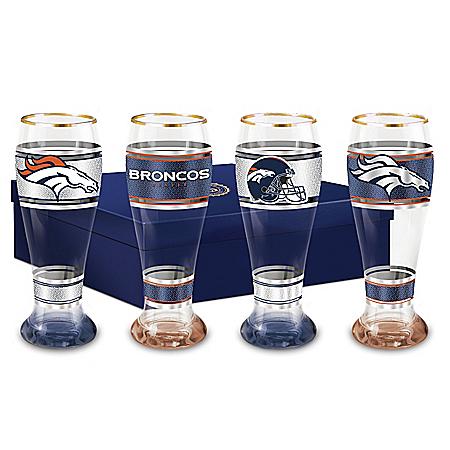Denver Broncos Four-Piece Pilsner Glass Set