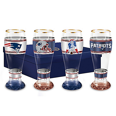 New England Patriots Four-Piece Pilsner Glass Set
