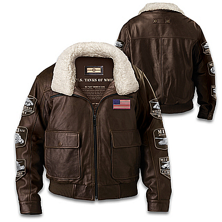 America's Legendary Tanks Of WWII Leather Bomber Jacket