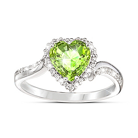 The Heart Of You Women's Personalized Heart-Shaped Crystal Birthstone Ring – Personalized Jewelry