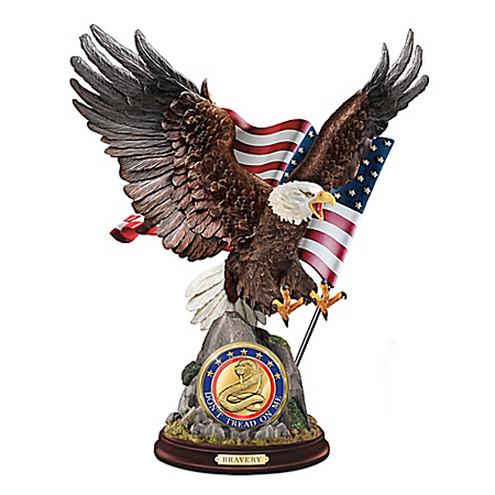 Bravery Eagle Sculpture With Removable Challenge Coin