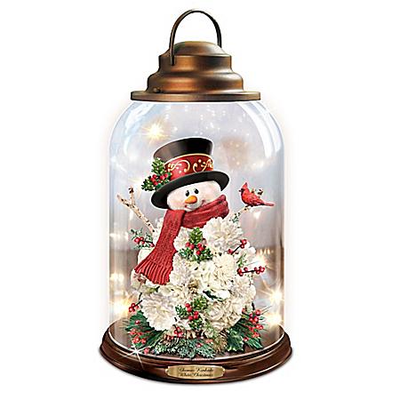 Thomas Kinkade White Christmas Illuminated Snowman Lantern