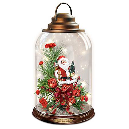 Thomas Kinkade Illuminated Musical Holiday Floral Lantern