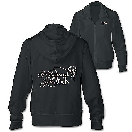 She Believed She Could Women's Inspirational Front-Zip Hoodie