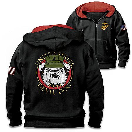 USMC Devil Dog Men's Front-Zip Hoodie With Embroidered Emblem