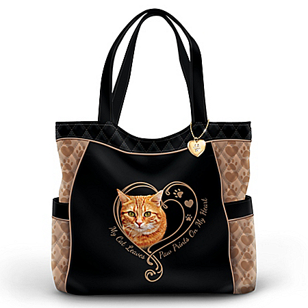 Paw Prints On My Heart Cat Women's Quilted Tote Bag