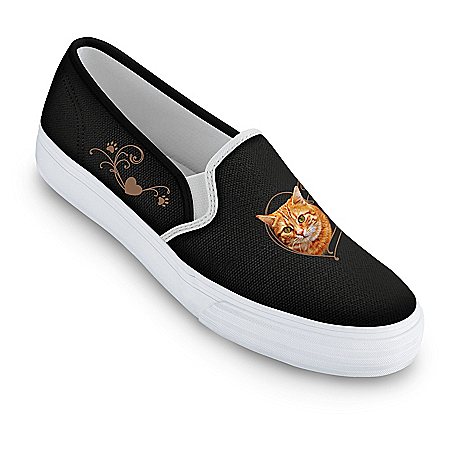 Paw Prints On My Heart Women's Cat-Themed Slip-On Canvas Shoes
