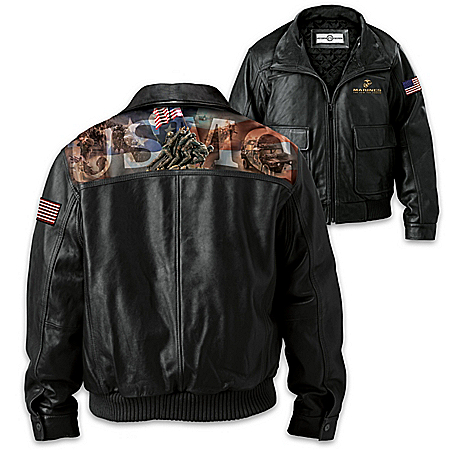 USMC Men's Leather Jacket With James Griffin Art