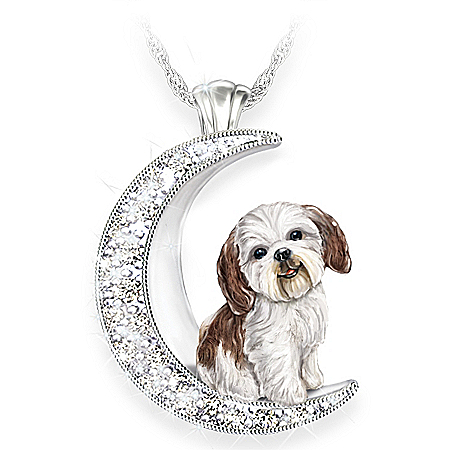 Shih Tzu Pup Swarovski Crystal Moon Pendant Necklace