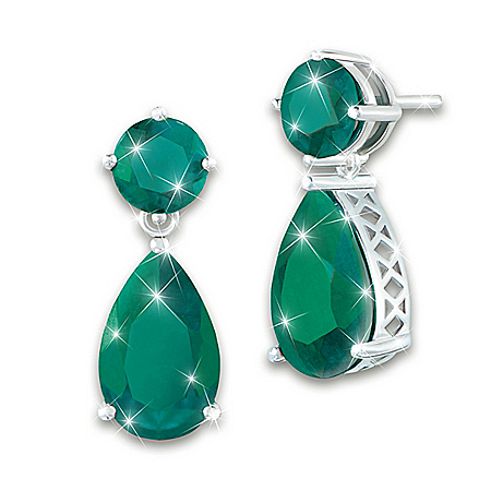 Women's Earrings With Over 16 Carats Of Genuine Emeralds