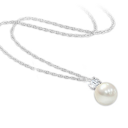 Precious Daughter Women's Personalized Cultured Pearl And Diamond Pendant Necklace – Personalized Jewelry