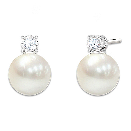 Cultured Freshwater Pearl And Diamond Earrings For Daughter