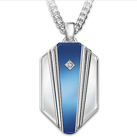 My Grandson, My Hero Personalized Diamond Shield-Shaped Pendant Necklace Featuring Solid Titanium & Blue IP Plating – Personaliz