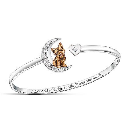 Dog And Moon Swarovski Crystal Bracelet: Choose Your Breed