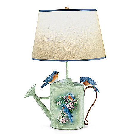 Rosemary Millette Country Bluebirds Sculpted Songbird Lamp
