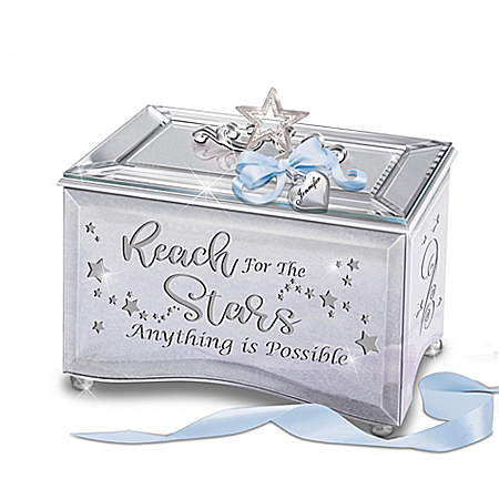 Reach For The Stars Personalized Mirrored Music Box With Poem Card & Heart-Shaped Charm – Graduation Gift Ideas