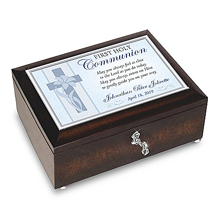 First Holy Communion Music Box With Name And Date – Gift For Boys