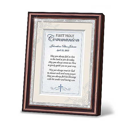 First Holy Communion Personalized Blue Prayer Frame