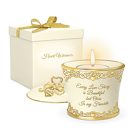 Our Love Story Personalized Porcelain Candleholder