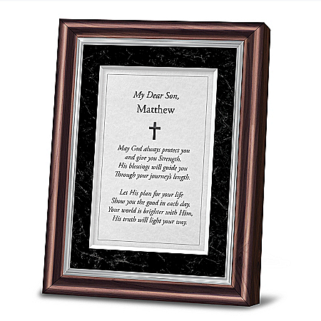 Protection And Strength Personalized Religious Poem Frame For Your Son