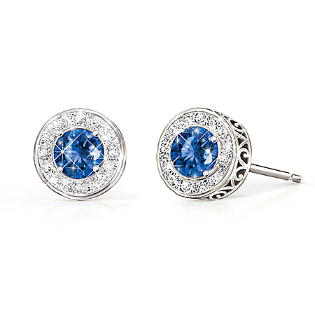 Classic Glamour Women's Birthstone & Diamond Earrings
