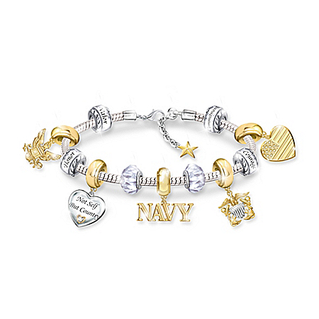 Pride Of The Navy Beaded Charm Bracelet