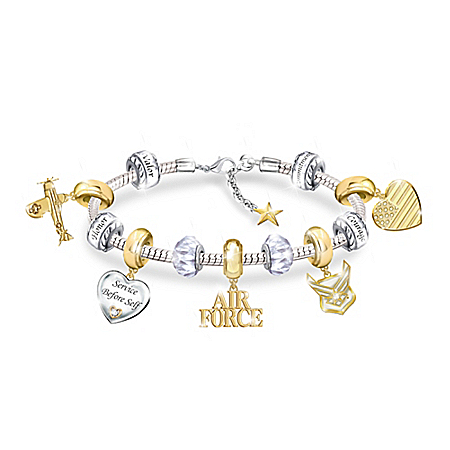 Pride Of The Air Force Beaded Charm Bracelet
